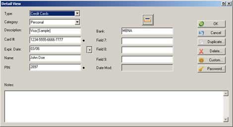 SplashID Desktop Detail View