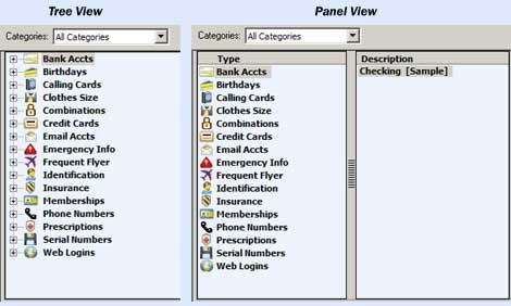 SplashID Desktop Tree & Panel View