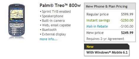 Sprint Treo 800w Pricing
