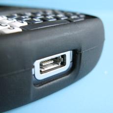 Treo 800w skin case - USB port detail